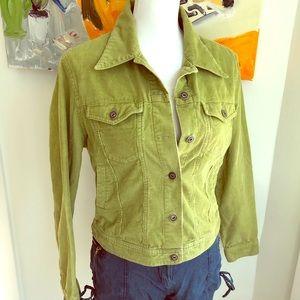 Green corduroy jean jacket